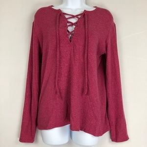 Go Couture Long Sleeve Lace-Up Knit Sweater L